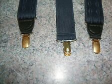 BRETELLE SUSPENDERS by CAS made in GERMANY, navy blue & design black leather