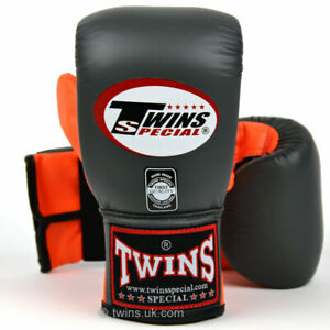 Twins TBGLA1F Leather Air Flow Bag Gloves Grey Muay Thai Boxing Punch Mitts
