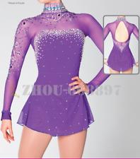 Ice Skating Dress Halo Dyeing Asymmetric Hem Spandex Competition Skating purple