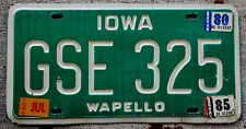 1979 White Incused on Green Iowa License Plate WAPELLO with 1980 & 1985 Stickers