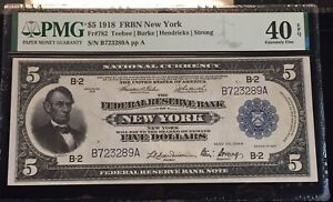 1918 $5 Federal Reserve New York Fr. 782 EF 40 PMG EPQ