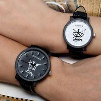 Fashion Lovers Men Women Leather Band Quartz Analog Wrist Watch Couple Watches