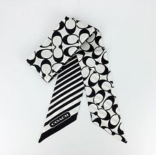 NEW COACH Black & White Signature C Logo PONYTAIL SILK SCARF Bag Accessories