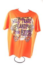 Halloween Will Trade Candy for Beer Orange Mens T Shirt Original L 100 Cotton