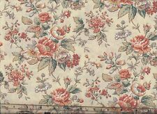 'English Cottage' Roses and floral on cream Quilt fabric BTY F