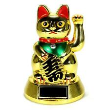SOLAR POWER BECKONING CAT Gold Wealth Lucky Waving Maneki Neko Fortune Feng Shui