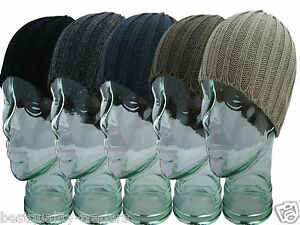 MENS BEANIE HAT SKULL  RIBBED WINTER HAT WARM AND STYLISH