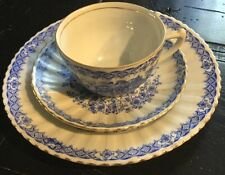 Vnt China Blau Rosslau Geisha Palace Bavaria Trio Cup Saucer Plate Set Gold Rim*