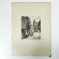 art print Nuremberg landscape Etching Titled and signed in pencil Circa 1930