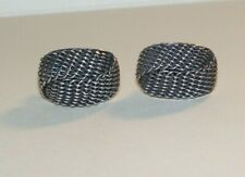 Vintage Sterling oxidized Mesh detail pierced earrings