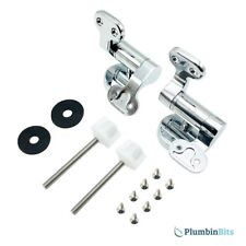 HERITAGE REPLACEMENT TRADITIONAL OAK SOFT CLOSING WOOD TOILET SEAT HINGES CHROME