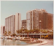 Vintage 80s PHOTO Hawaii Honolulu Hotels Boat Mooring