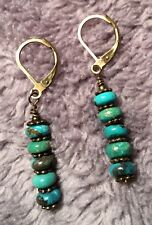 Turquoise Rondelle Stack & Antiqued Bronze Leverback Earrings * Sundance Arti
