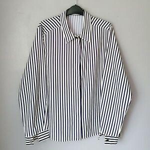 Vintage 90s ST MICHAEL Striped Shirt Size 16 UK Navy white