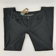 prAna Women's Jeans Gray Kara Charcoal Dots Low Rise Fitted 5 Pocket Sz 14