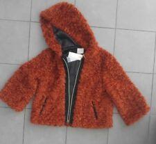 ⚫️ Italian TENSIONE IN burnt orange faux fur short jacket hoodie coat NWT ⚫️