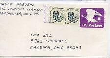 Estados Unidos Frontal de Sobre entero postal circulado año 1980 (DC-435)