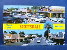 Postcard AZ Scottsdale 1950's Downtown Street View Old Cars & Stores Dual View