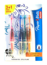 LOT OF 4   PAPERMATE MINI FOUNTAIN PENS PINK BLUE GREEN ORANGE 2 HEARTS ON NIB