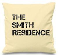 Luxury Personalised Cushion Cover Wedding Gift Named Residence Family Birthday