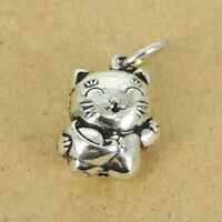 Lucky Cat Maneki Neko with Gold Nugget Sterling Silver Parts DIY Charm Jewelry