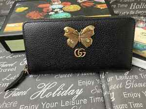 Gucci women Black Leather wallet Purse Gold GG & Butterfly made in Italy Auth.