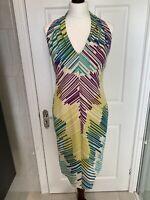 Jaeger Silk / Cotton Blend Blue Purple Green Stripe Lined Shift Dress - Size 10