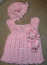 SALE Handmade Crochet Set,Shoes Dress and  Hat, Pink 0-3 Rocky Mountain Marty.