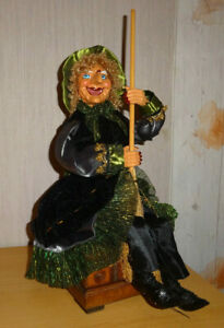 Hexe,Brockenhexe,ca.33cm,schwarz/grün,Dekoration,Neu