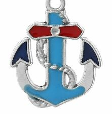 LOVELY SILVER, BLUE AND WHITE ANCHOR WITH ROPE CLIP ON CHARM  -SILVER PLATE -NEW