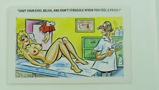 1960s Risque Saucy Vintage Comic Postcard Doctor Flu Jab Nude Blonde Big Boobs