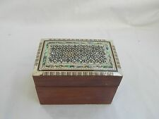 "Egyptian Mother of Pearl Inlaid Playing Cards Box 4.5"" Holds 2 Decks of Cards"