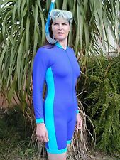 blue women's & men's sun protective swimwear long sleeves Australian Made