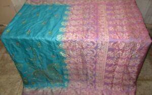 Reine Seide Antik Vintage Sari Exotisch 4Y S18 284 Skyblue Pink UK #ABGN4