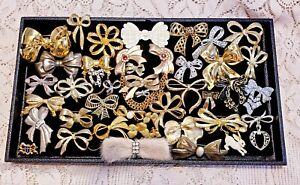 40 Piece Vintage & Modern Mixed Bow Theme Brooch/Pin Lot - Trifari, Monet
