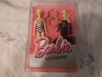 NIP Vintage 1995 Mattel Barbie Doll Keychain Set of 2 in Plastic Box Basic Fun
