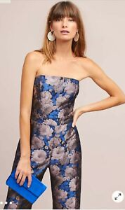 NWT ANTHROPOLOGIE GREYLIN Jacquard Strapless Jumpsuit Large SOLD OUT