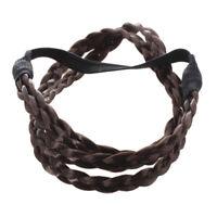 Bohemian Double Hair Braid Plait Headband - Coffee Z5B9