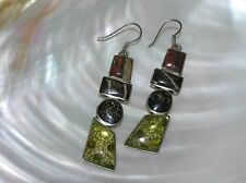 Estate Long Earth Tone Glass Cairn in Nonmagnetic Silver Frame Dangle Earrings