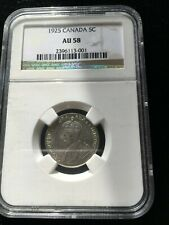 **1925**, NGC Graded Canadian,  5 Cent, **AU-58**