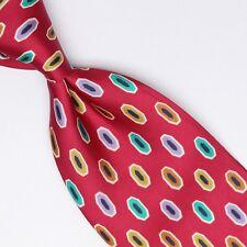 Renato Balestra Mens Silk Necktie Red Green Lavender Gold Geometric Print Italy