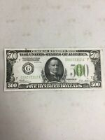 SERIES 1928 $500 DOLLAR  FEDERAL RESERVE NOTE