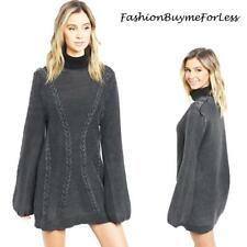 BOHO Black Mineral Washed Hippie Oversized Puffy Sleeve Sweater Dress S M L XL
