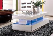 Modern High Gloss White Tiffany Wood Coffee Table for Living Room RGB LED Lights