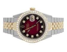 Rolex Datejust Two Tone 18K/ Steel 36MM Quickset 16014 Diamond Watch 3.0 Ct