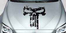 PUNISHER skull Distressed hood side vinyl decal sticker for car track wrangler