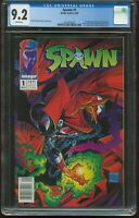 SPAWN # 1 NEWSSTAND EDITION MAY 1992 CGC-GRADED 9.2 NEAR MINT WHITE PAGES G-184