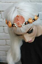 Mermaid Pearl Crown Gold Pearl Sea Shell Festival Head Band Pastel Gobbolino