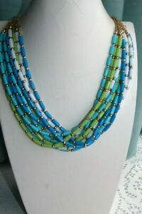 JEWELLERY PRETTY MULTI STRAND BEAD NECKLACE TURQUOISE BLUE &LIME GREEN BEADS 597