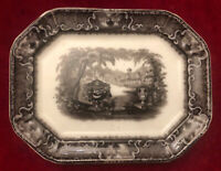 ANTIQUE PEARL STONE WARE FLO-MULBERRY WASHINGTON VASE PLATTER  ENGLAND C.1860